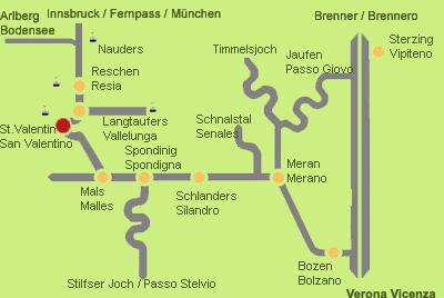 Anfahrt Reschenpass - St. Valentin